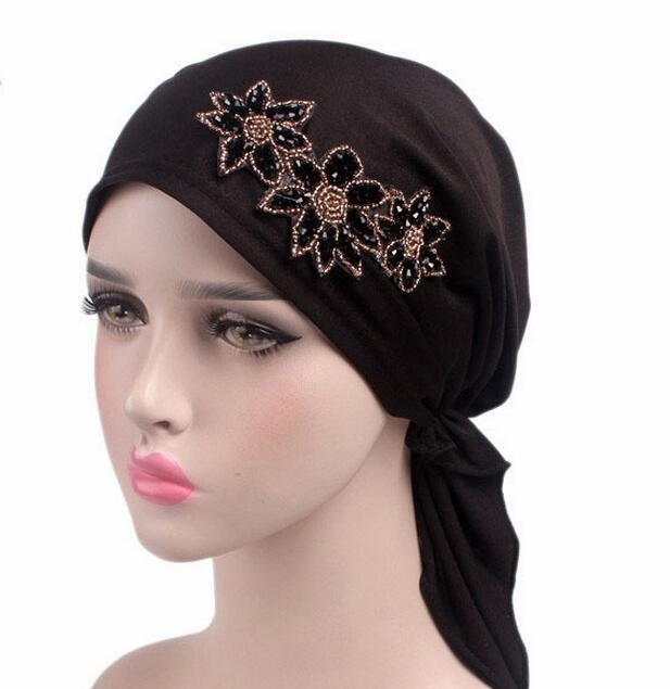 chemo skullies rhinestone cap bandana Wrap cancer hat Cap Chemo slip on bonnet 6 Colors 10pcs/lot free ship wool skullies cap hat 10pcs lot 2289