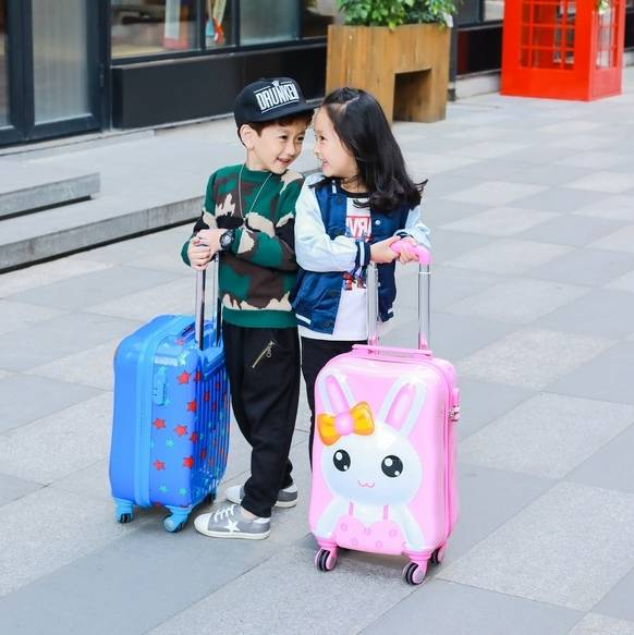 f4e78c47dee1 BeaSumore Children Rolling Luggage Spinner Travel Duffle Kids Suitcase  Wheels Cute Cartoon Trolley 3D Cabin School