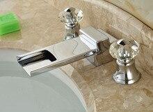 Новый ванна кран кристалл ручки водопад носик раковины ванной комнаты хромированная отделка