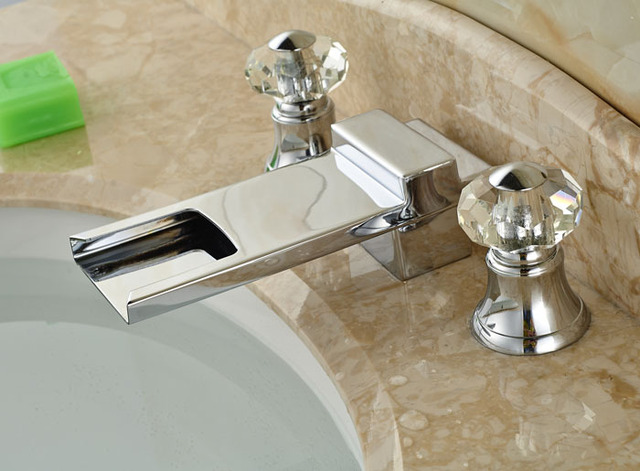 NEW Bathtub Faucet Crystal Knobs Waterfall Spout Bathroom Sink Mixer Tap  Chrome Finish