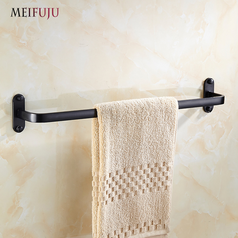 MEIFUJU Space Aluminum Single Towel Bar Towel Holder Bathroom Accessories Toilet Products Black Single Towel Rack Hardware Bath bathroom space aluminum single towel bar towel holder bathroom accessories single towel rack