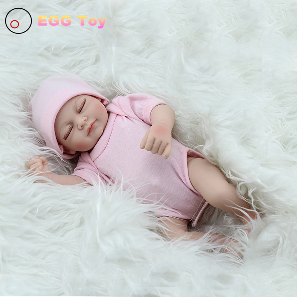 28cm Full body Silicone Reborn Baby Dolls Toys Sleeping Lifelike Baby Girls Doll Play House toy Gift pink Princess Doll Reborn 28cm white full body silicone reborn baby dolls toys lifelike girls doll play bath toys gift brinquedods princess reborn babies