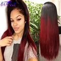 "Black To Burgundy Or Grey Ombre Wig Cheap Female 28"" Long Elegant Straight Synthetic Wig for None Lace Wig American Black Women"