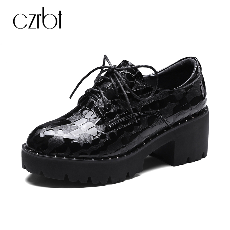CZRBT Cow Leather Women Shoes Spring Autumn Women Black Lace-Up Genuine Leather Platform Shoes Handmade Casual Flat Shoes 34-39 beffery 2018 british style patent leather flat shoes fashion thick bottom platform shoes for women lace up casual shoes a18a309