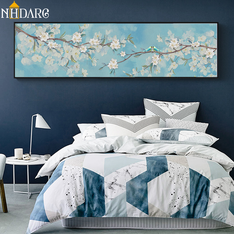 New Chinese Lovebirds with Pale Blue Flowers Decoration Canvas Print Painting Poster Art Wall Picture for Living Room Home Decor