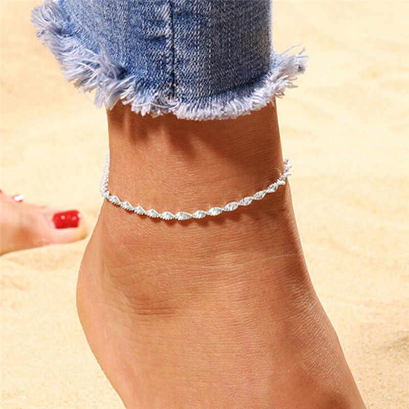 Moda Twisted Halhal Kadınlar Link Çene Bohemian Gümüş Renk Ayakkabı Çizme Zinciri Bilezik ayak takısı