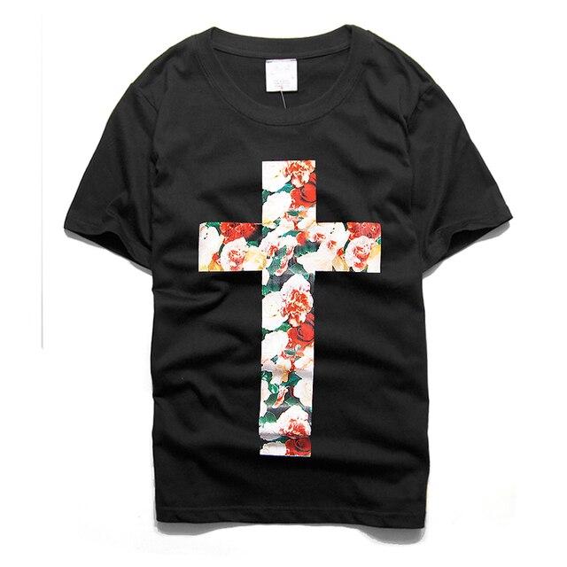 a0fd16eadfaf 2017 New Supreme T-Shirts Men Summer Streetwear Short Sleeve Cross Foral 3D  Printed Men Slim Casual Tees Tosp Black Z5