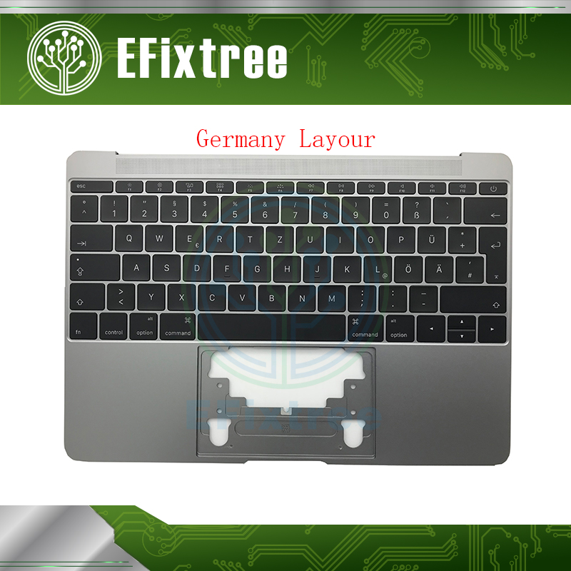 Tested A1534 keyboard Germany with topcase 2015 Year For Macbook 12 inch Retina A1534 Palmrease GR Keyboard Top Case Space Grey new genuine 12 inch a1534 palm rest 2016 year for macbook air retina a1534 palmrest top case topcase uk eu layout replacement