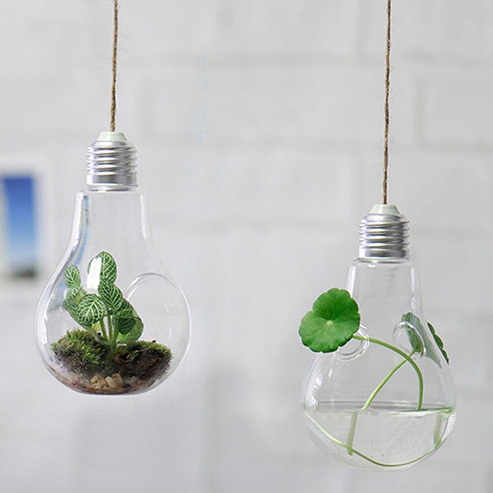 Indoor Hanging Lamp Shape Flower Water Plant Hanging Vase