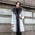 2016 новый зимний высокое качество elegent меховым воротником куртки с капюшоном супер девушки длинный тонкий утолщенной мех енота куртка пальто