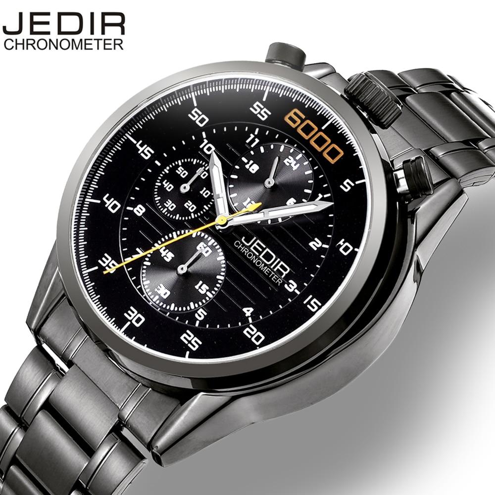 JEDIR Luminous Chronograph Sports Watch Genuine Leather Strap Men Luxury Brand Waterproof Shock Army Military Casual Watch 2017 стоимость