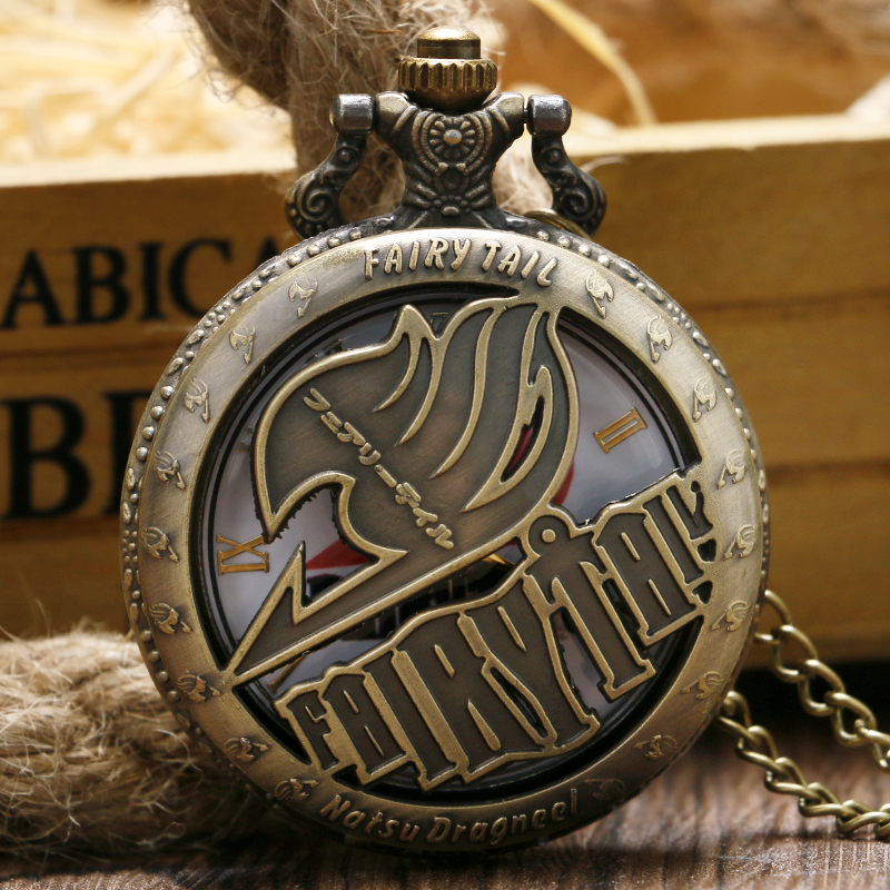 Retro Men Boy Necklace Cartoon Anime Japan Fairy Tail Hot Bronze Natsu Dragneel Fashion Chain Cool Quartz Pocket Watch