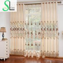 European Garden Chenille Embroidery Curtain Fabric With Hollow Yarn For Room Curtains Embroidered Cortinas Living Luxury Modern(China)