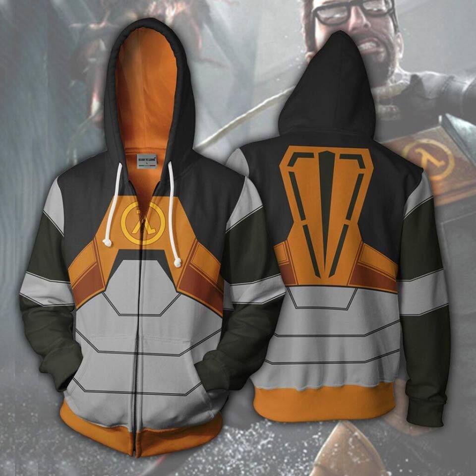 2019 New Men Hooded Half Life 3D Printed Hoodies Casual Tracksuit Casual Zipper Hoodie Hooded Hip Hop Tops X Task Force