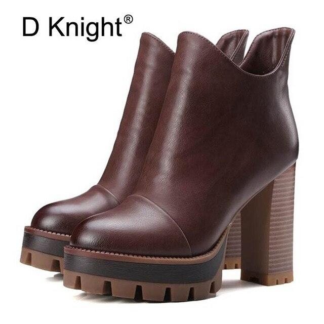 7473b94e0c6 Las mujeres botas de plataforma de moda de tacón grueso de la motocicleta botas  zapatos de