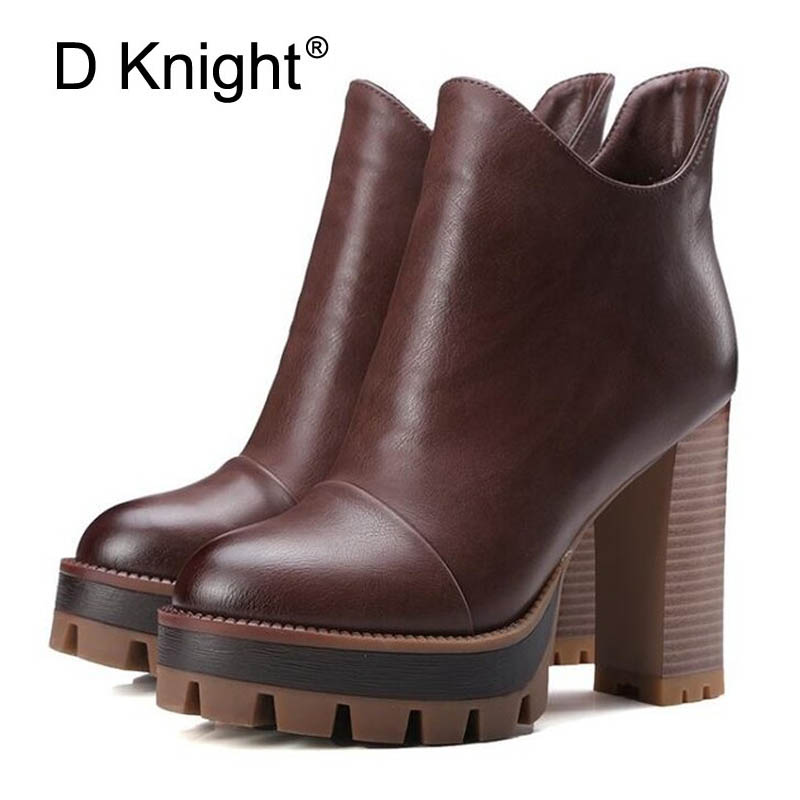 Women Ankle Boots Fashion Platform High Thick Heels Motorcycle Boots Shoes Woman Solid Zipper Pumps Vintage Winter Martin Boots
