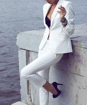 Custom Made White Women Tuxedos Ladies Formal Business Office 2 Piece Casual Suits Jacket+Pants  B130