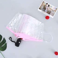1 шт. автоматический ручной Зонт Три складной Для женщин Прозрачные Зонтики ветрозащитный детский зонт дождя Для женщин