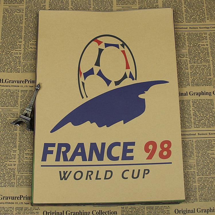 "Large Vintage ""<font><b>1998</b></font> <font><b>World</b></font> <font><b>Cup</b></font> in <font><b>France</b></font>"" Poster Home Decoration Detailed Antique Poster Wall Chart Retro Matte Kraft Paper"