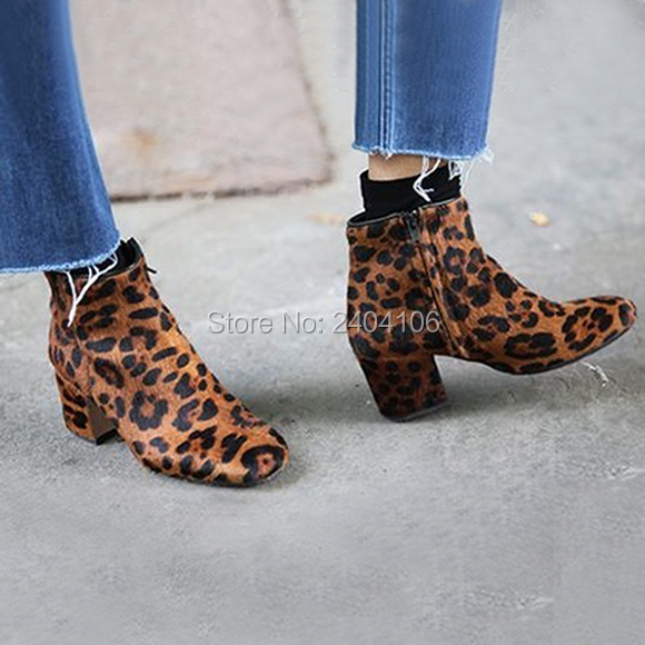 Faux Horsehair Suede Leopard Ankle Boots Brown Thick Chunky Heel Sexy High  Heels Flock Zip Booties Ladies Autumn Shoes On Sale d1924ddb7183