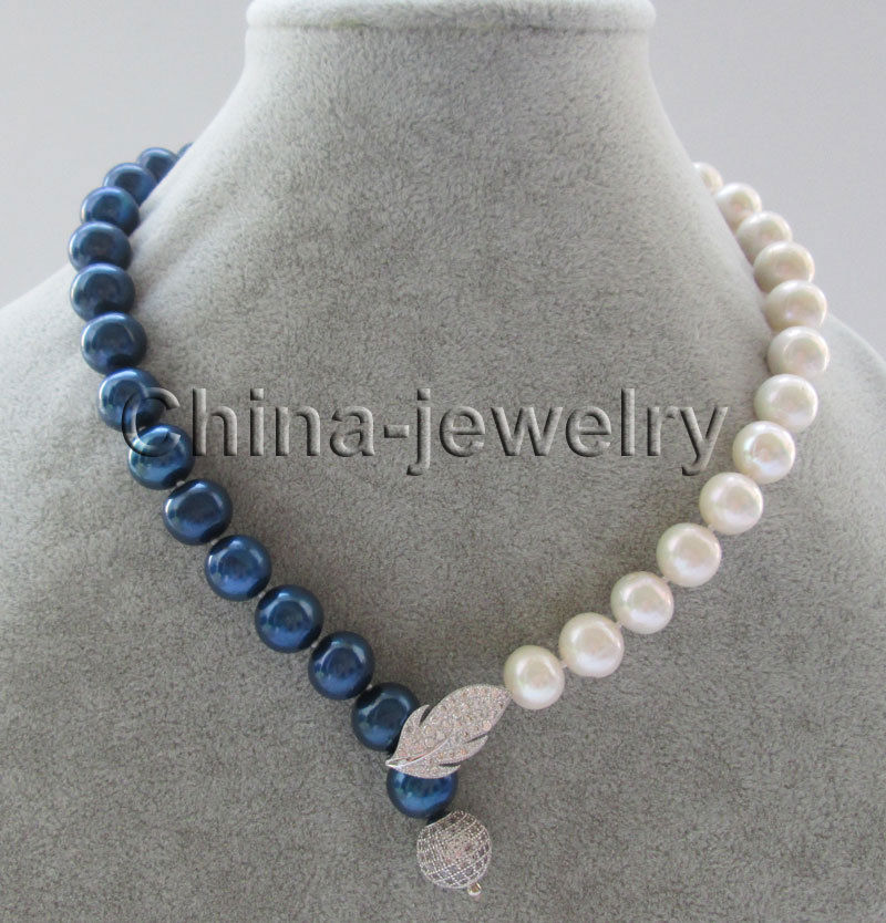 18 11-12mm natural white + blue round freshwater pearl necklace>>>hot Sell necklace pendant Free shipping shiying a02304 fashion elegant artificial pearl acrylic pendant necklace black white blue