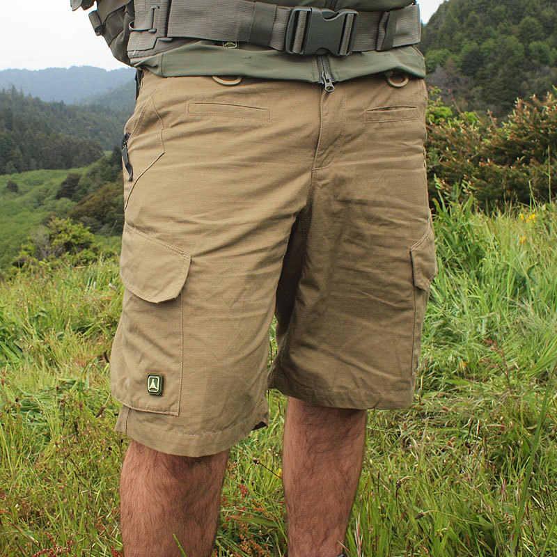 Homens verão Quick Dry Grande Multi-bolso Shorts Soltos Ao Ar Livre Escalada Caminhadas Treinamento Tático Joelho Carga Calças Curtas