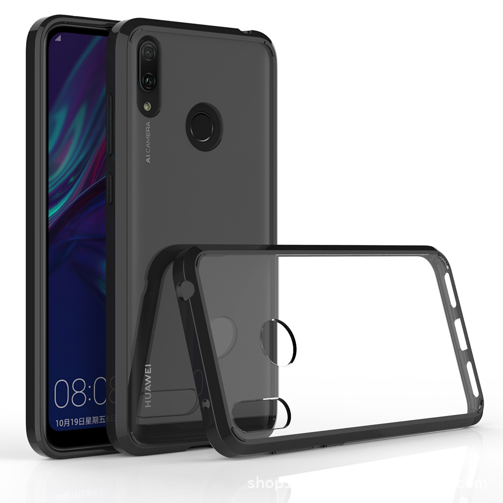 30pcs lot For Huawei Y5 2019Y7 2019 Crystal Clear Acrylic Cover Shockproof TPU PC Hard Case