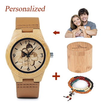 Personalized Customized Picture Printing Wood Watch with Gift