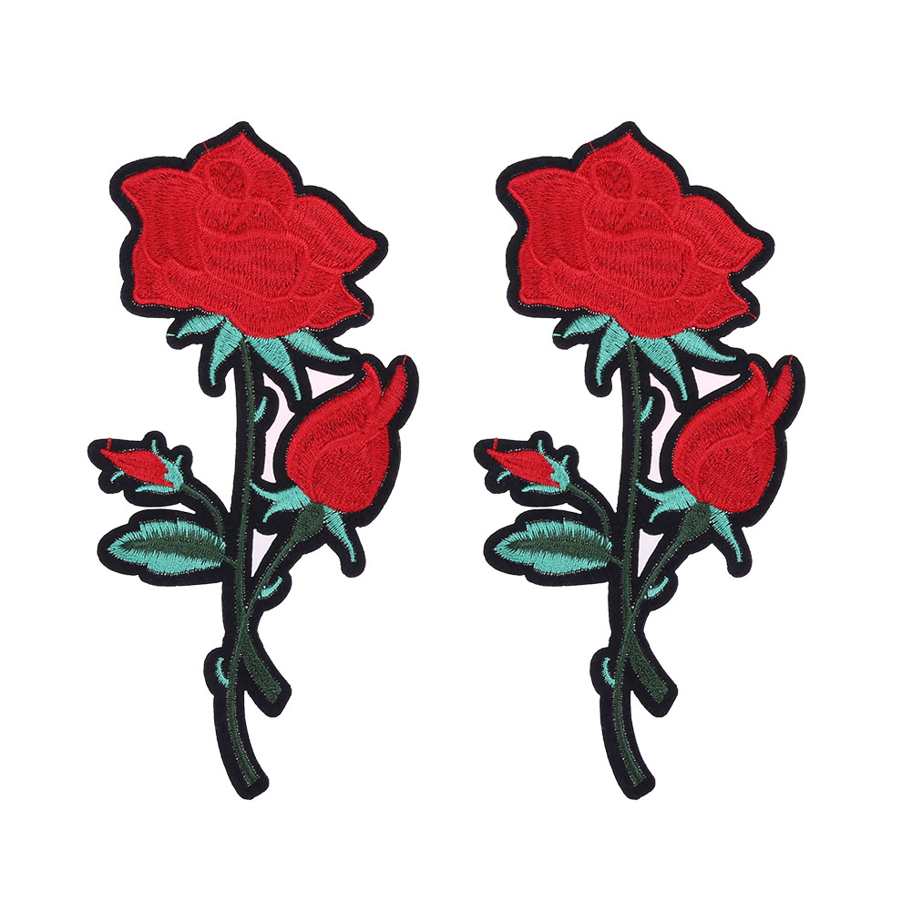 2pcs Red Rose Flower Embroidery Iron Applique Patch DIY Decoration Cloth Sewing Iron On Patch Badge Decoration Accessoring