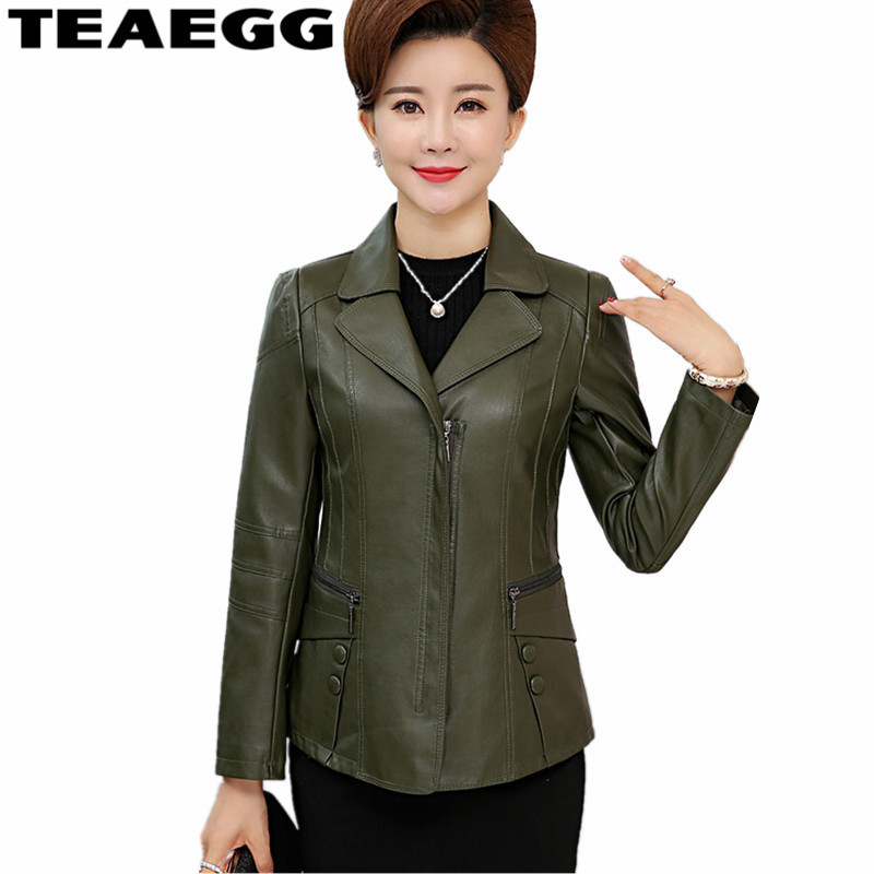 TEAEGG Vintage PU   Leather   Jacket Women Faux   Leather   Jackets Dark Green Spring Jacket Woman   Leather   Coat Plus Size 5XL 6XL AL940