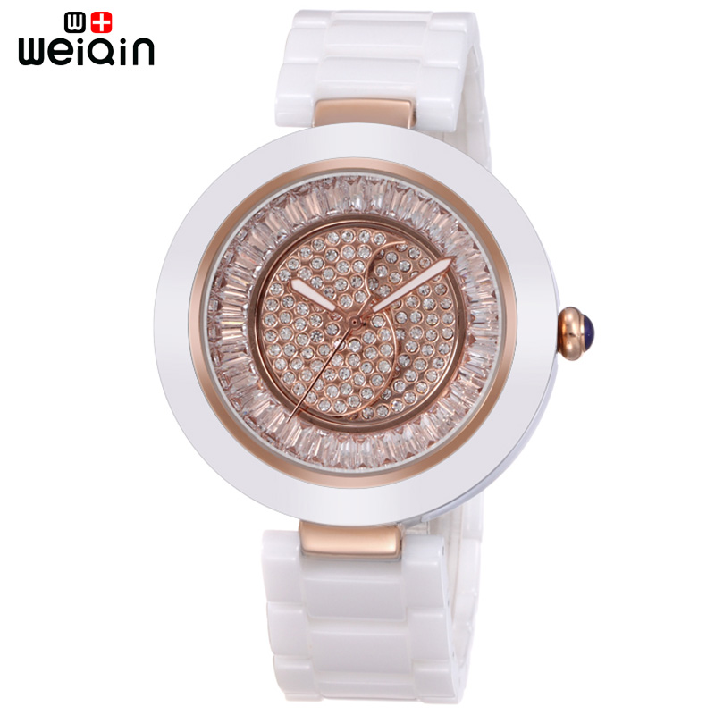 WEIQIN Elegant Date Crystal Diamond Women Wristwatches Outdoor Leisure Ceramic Band Ladies Watches Relojes Mujer Marca De Lujo classic style natural bamboo wood watches analog ladies womens quartz watch simple genuine leather relojes mujer marca de lujo