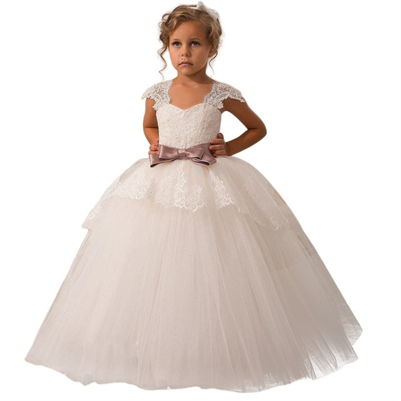 Flower Girl Dresses With Bow Beaded Crystal Lace Up Applique Ball Gown First Communion Dress for Girls Customized Vest cute new long sleeves white ball gown flower girl dresses french lace beaded first communion dress with sequin bow and sash