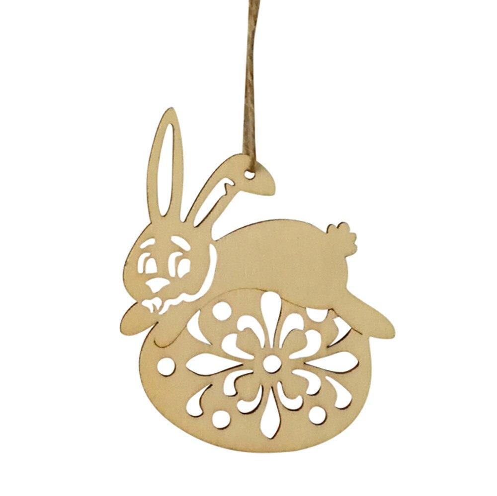 6Pcs Wooden Easter Bunny Rabbit Hanging Pendant Gift Wall Door Decor ...