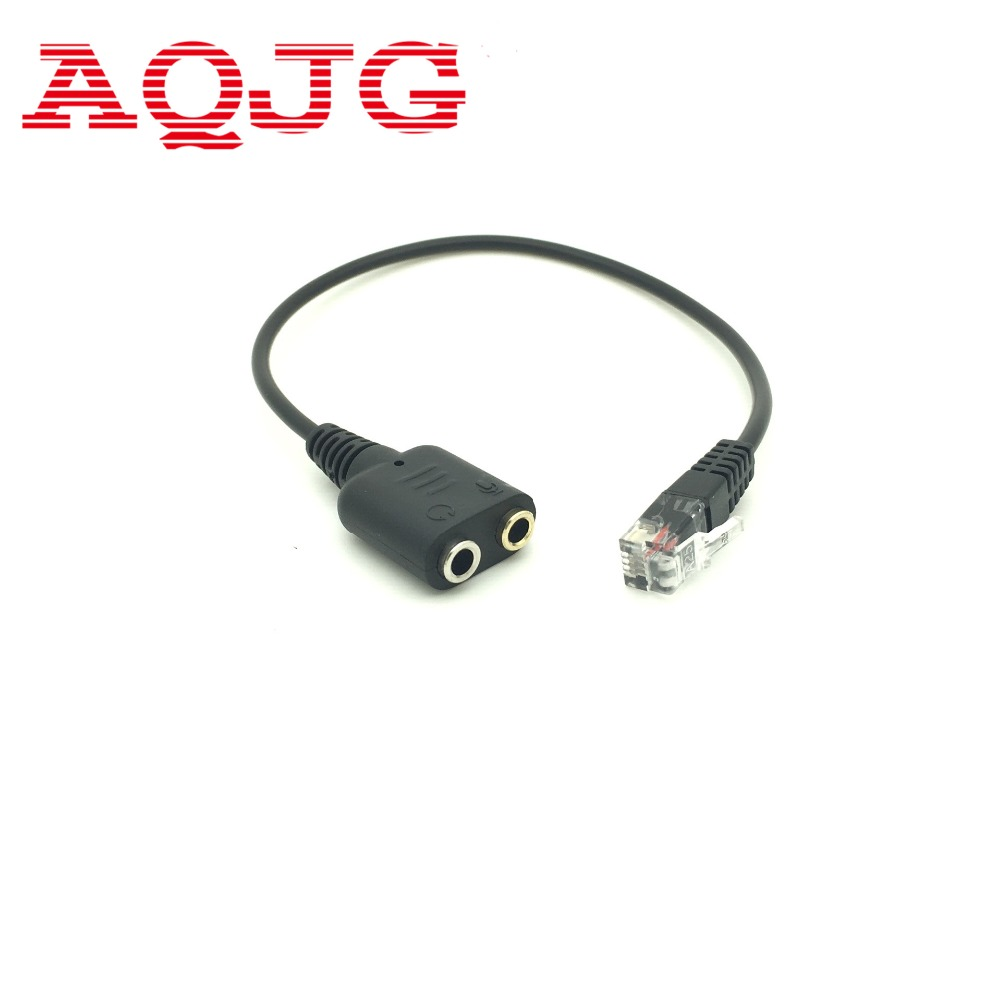 RJ9 Plug to 2 X 3.5mm Jack for PC Headset to Avaya 1600 9600 SNOM Yealink Phones AQJG For ciscoip phone 7960g 7902g