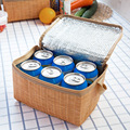 new artificial Cane weaving fabric thermal bag can bottle food storage cooling bag for lunch