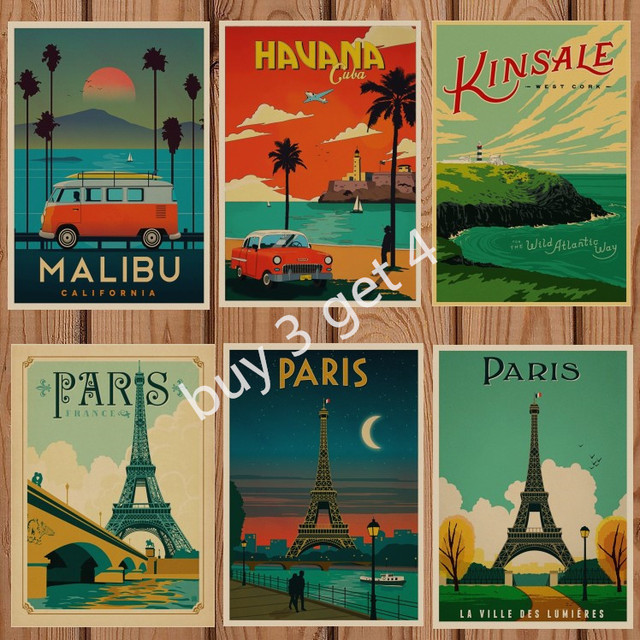 London Poster Vintage Travel Paris Retro Kraft Travel Poster