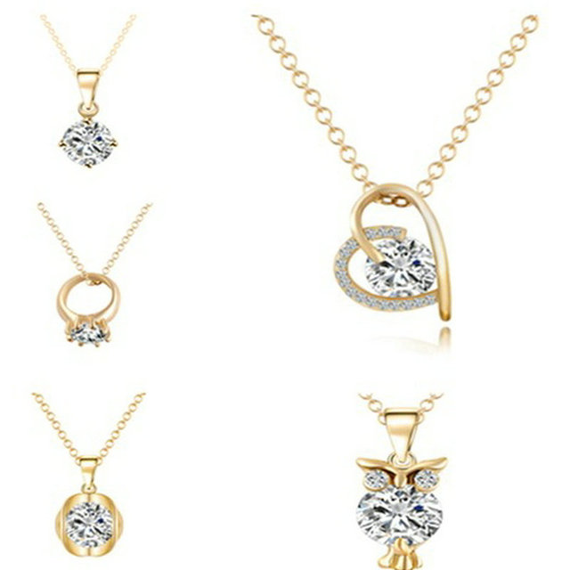 New arrival gold color simple crystal zircon brand owl heart shape new arrival gold color simple crystal zircon brand owl heart shape necklaces pendants fashion jewelry aloadofball Choice Image