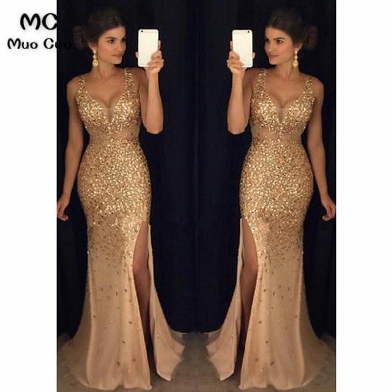 Mocuo 2018 Luxuries Mermaid Evening Dresses Long Crystals Slit Vestido Longo Party Gown Evening Dress Vestido De Festa Plus Size