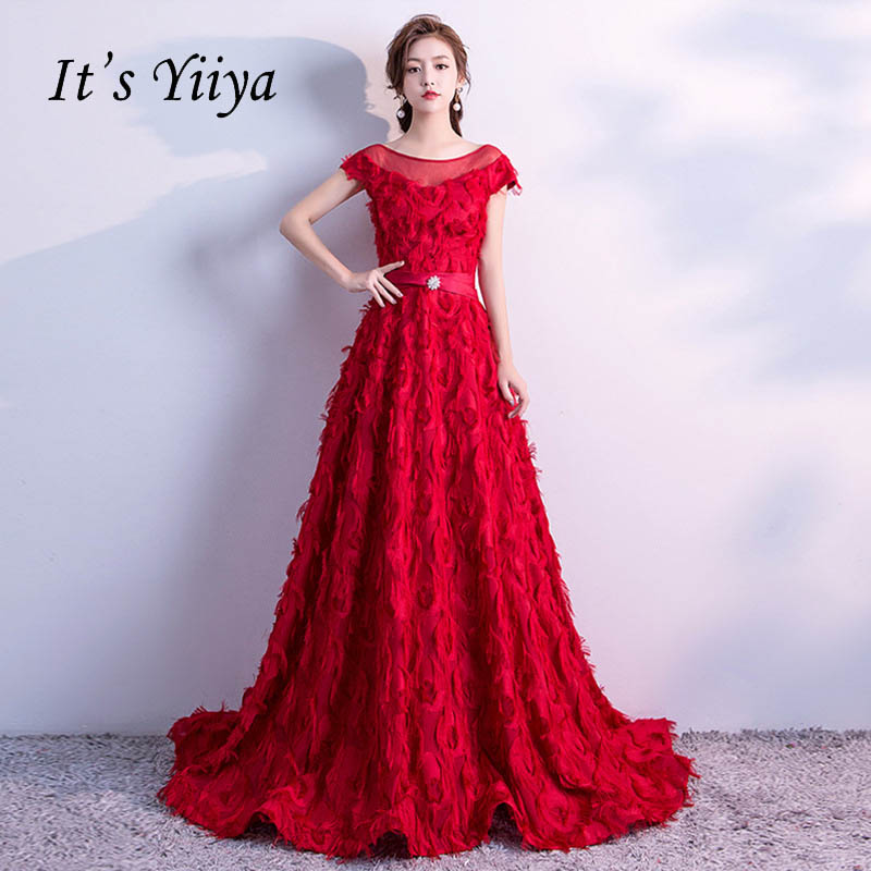 It's YiiYa Red Flowers Illusion Appliques O-neck Backless Elegant Lace Up Party Formal   Dress   Floor Length   Evening     Dresses   LX117