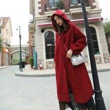 Модное шерстяное пальто для женщин, осенне-зимнее шерстяное пальто, женское корейское длинное пальто с капюшоном X172