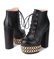Пикантная Женская Золотая цепочка на массивном каблуке ботинки на платформе из коровьей кожи крутой, в стиле панк женские на шнуровке ботил