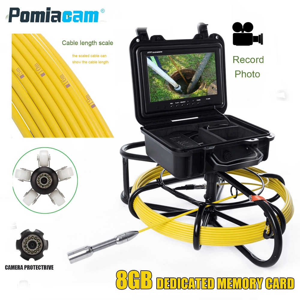 WP9600 30m 98FT Cable Sewer Pipe live Inspection video Camera Drain Line Sewer Inspection live Camera 1200TVL 9inch display wp9600a 50m pipeline drain sewer inspection support video recording 1200tvl camera sewer pipe video inspection camera system