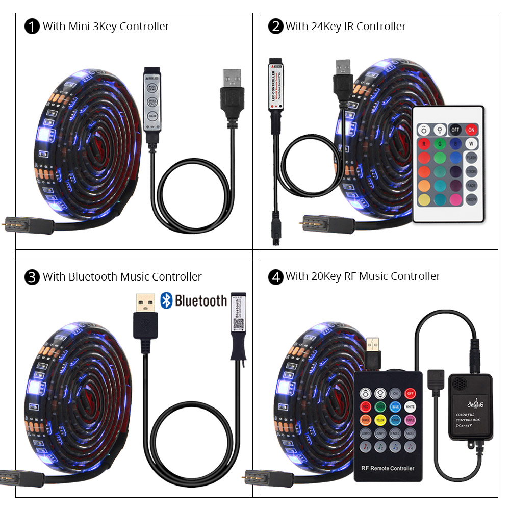 5V USB Led Strip 5050 RGB LED Strip Light 5050 Bluetooth Music Strip IP65 Flexible Strip Led Ribbon Tape TV Background Lighting
