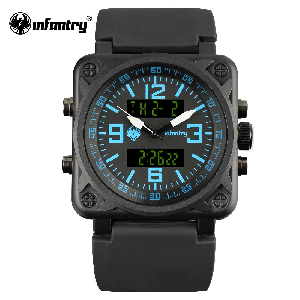 Infantry Mens Sports Wristwatches Army Military Watches For Boys Bule Rubber  Bracelet Watches Dual Time Light