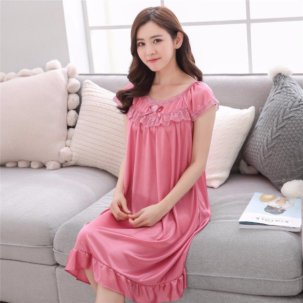 2019 Hot Sale Plus Size 2XL New Sexy Silk Nightgowns Women Casual Chemise Nightie Nightwear Lingerie Nightdress Sleepwear Dress 5