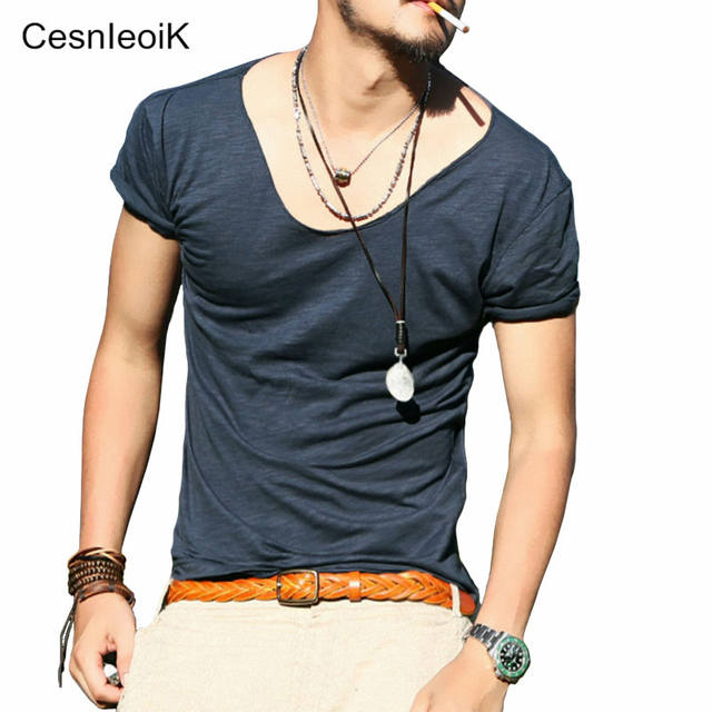 Men's Exclusive Pretty Tops V Neck T Shirts Stunning Cut Off Border New Summer Style #Q001
