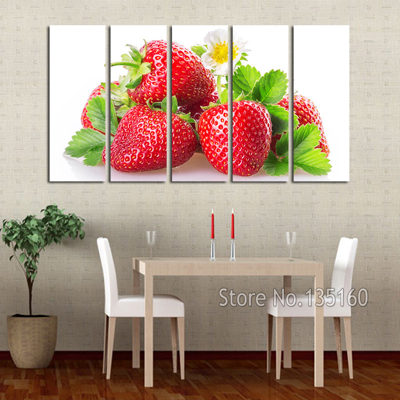 Large Modern Home Painting Kitchen Wall Decor Red Strawberry Decoration Canvas Print Fruit Art Room Deco