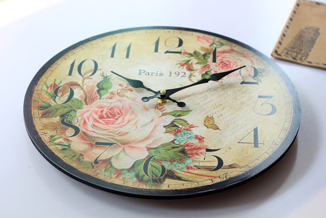 Paris Spring 1921 Wood Large Decorative Wall Clock Rose coloured drawing Nostalgia silent Living Room Clocks Wall Home Decor