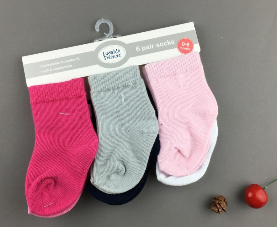 Г. новые носки для детей, 6 пар/лот,, детские носки с милыми друзьями Базовая манжета для малышей 0-6,6-18,18-36 месяцев - Цвет: 6 pair red
