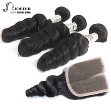 Joedir Pre-colored Indian Hair Loose Wave 3 Bunddles With Closure 1 Pack Remy Human Hair Bundles Lace Closure Free Shipping